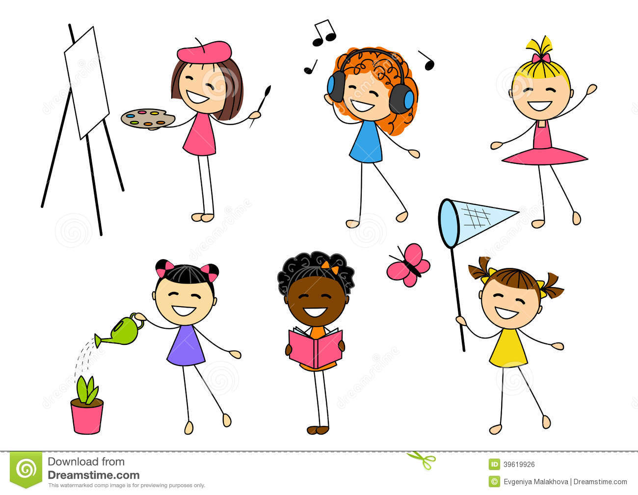 Set Of Little Girls With Different Hobby Stock Vector