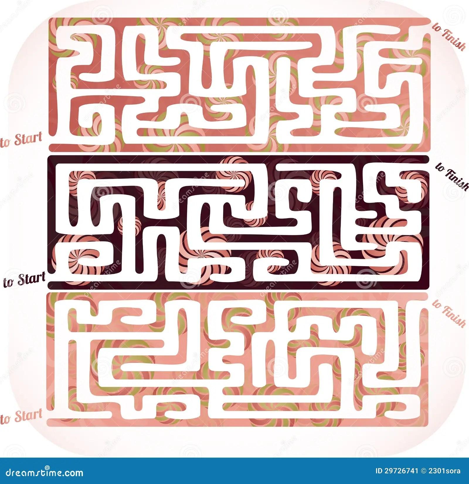 Easy Candy Maze Cartoon Vector
