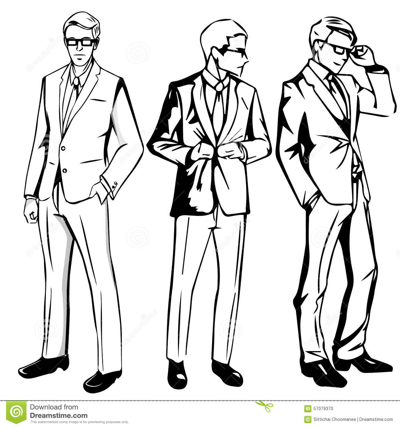 Set Of Man With Suit Stock Vector