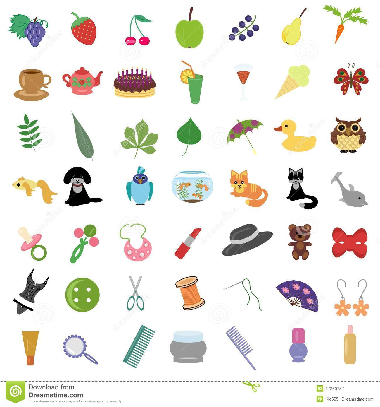 Set With Many Different Objects Stock Illustration