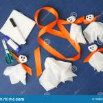 Set Of Materials For Halloween Toys Ghost From White Paper Napkin Creative Diy For Kids On Classic Blue Background Home Decor Stock Photo Image Of Kindergarten Orange 198809742