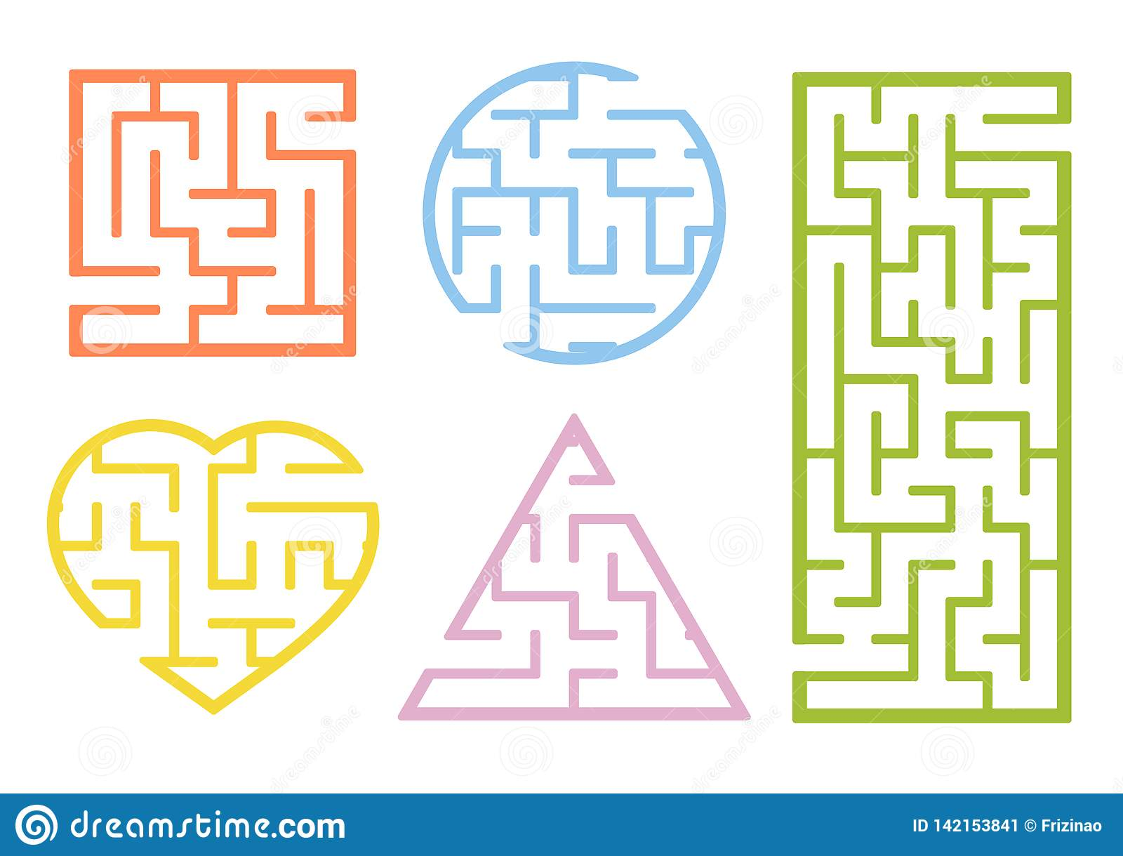 A Set Of Mazes Cartoon Style Visual Worksheets Activity