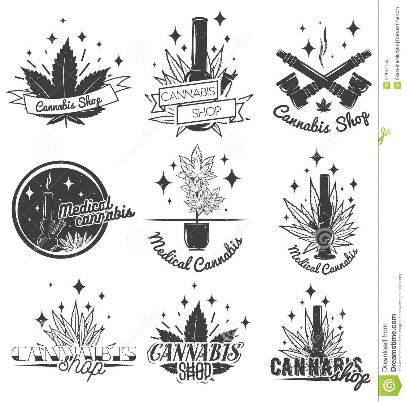 Set Of Medical Labels In Vintage Style Cannabis