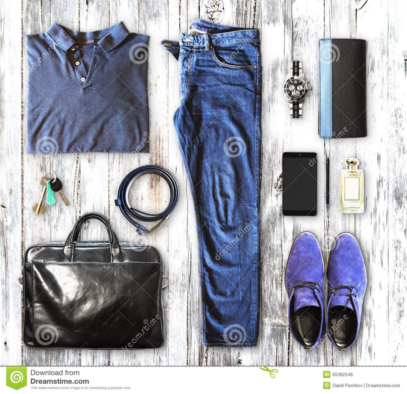 Set Of Men S Clothing And Accessories Stock Photo