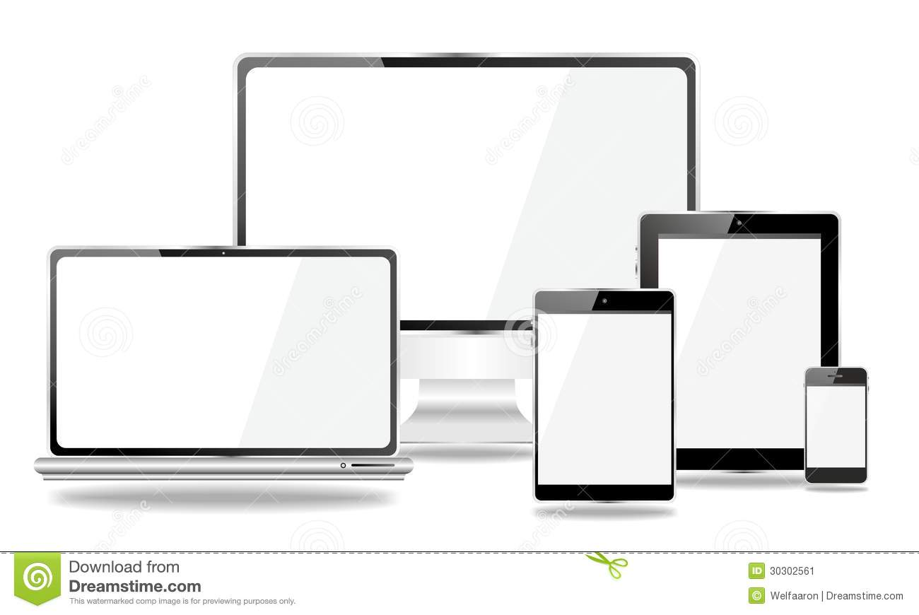 Set Of Mobile Devices Smartphone Tablet Pc Laptop Stock