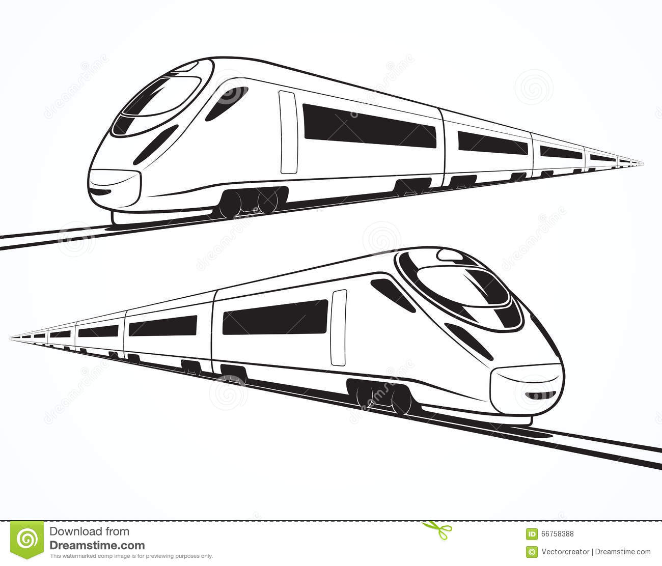 Set Of Modern High Speed Train Silhouettes Stock Vector