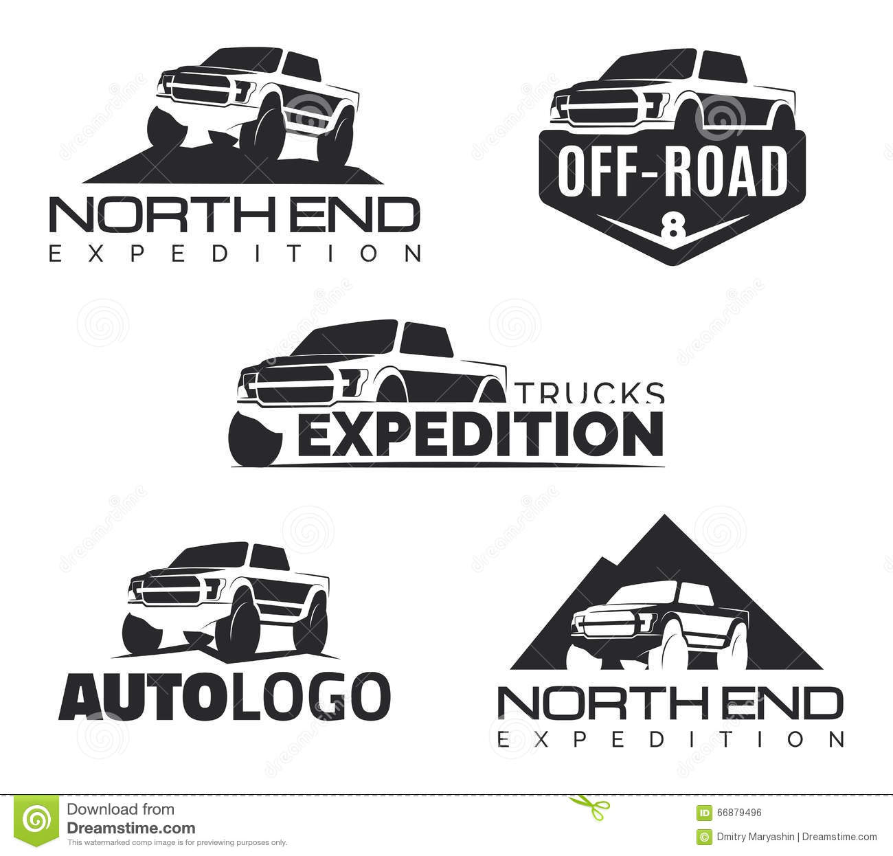 Set Of Modern Suv Pickup Emblems Icons And Logos Offroad