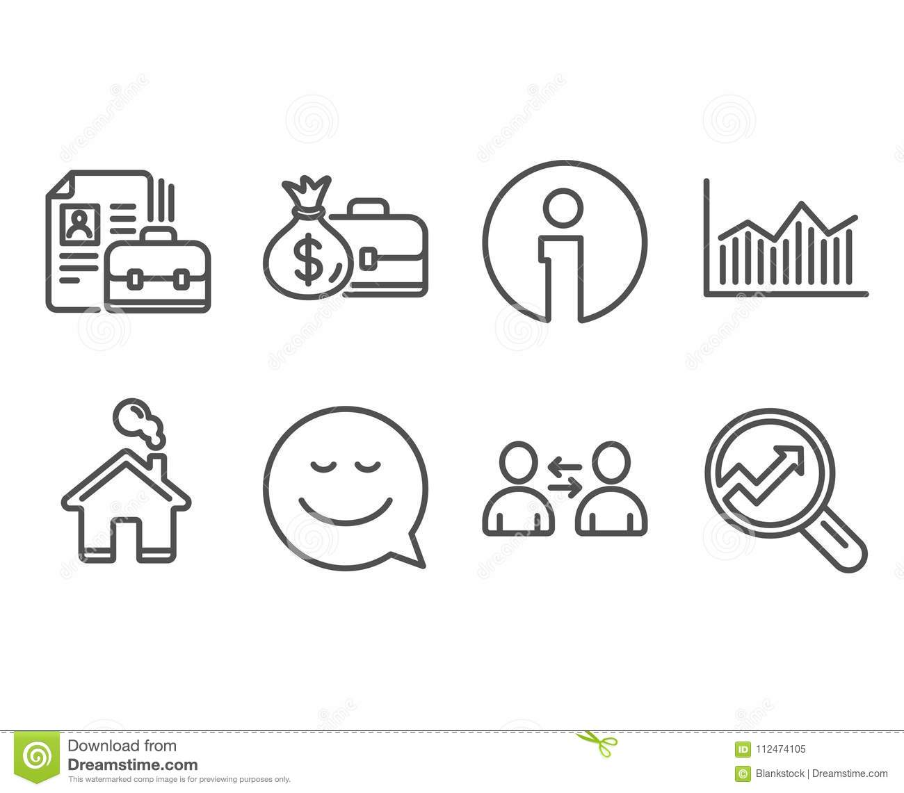 Money Diagram Smile And Salary Icons Vacancy