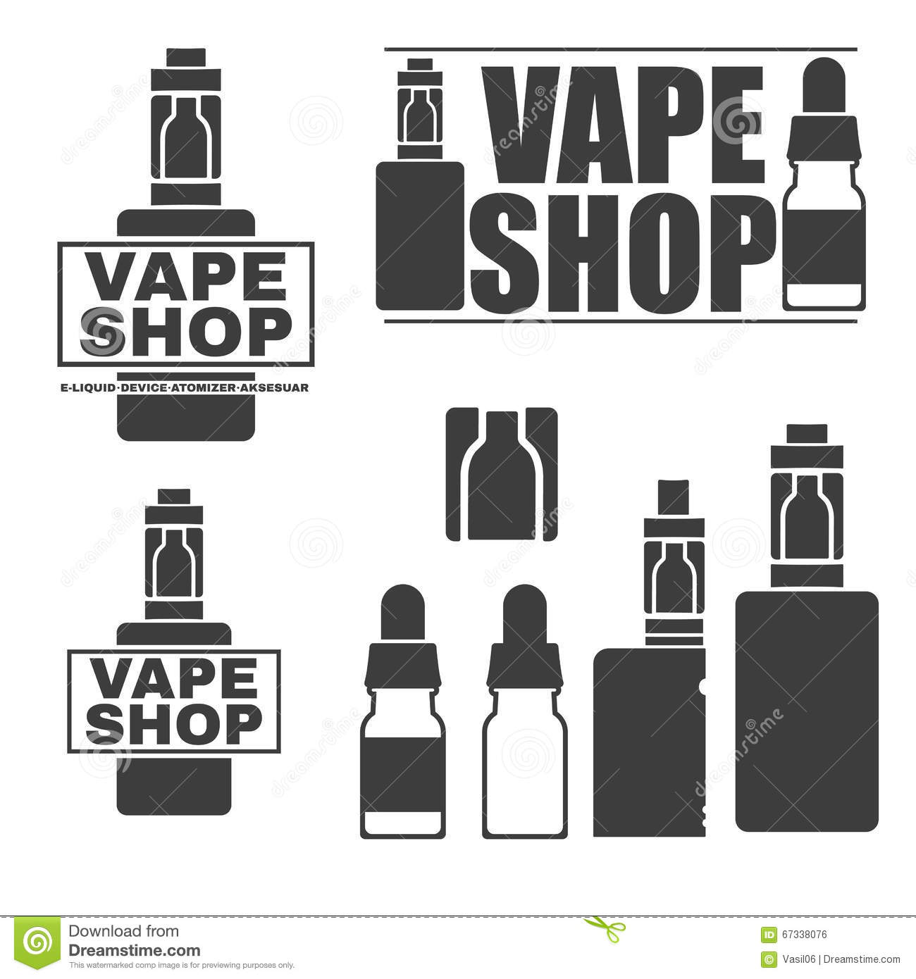 Set Of Monochrome Logos Of Electronic Cigarettes Stock Vector