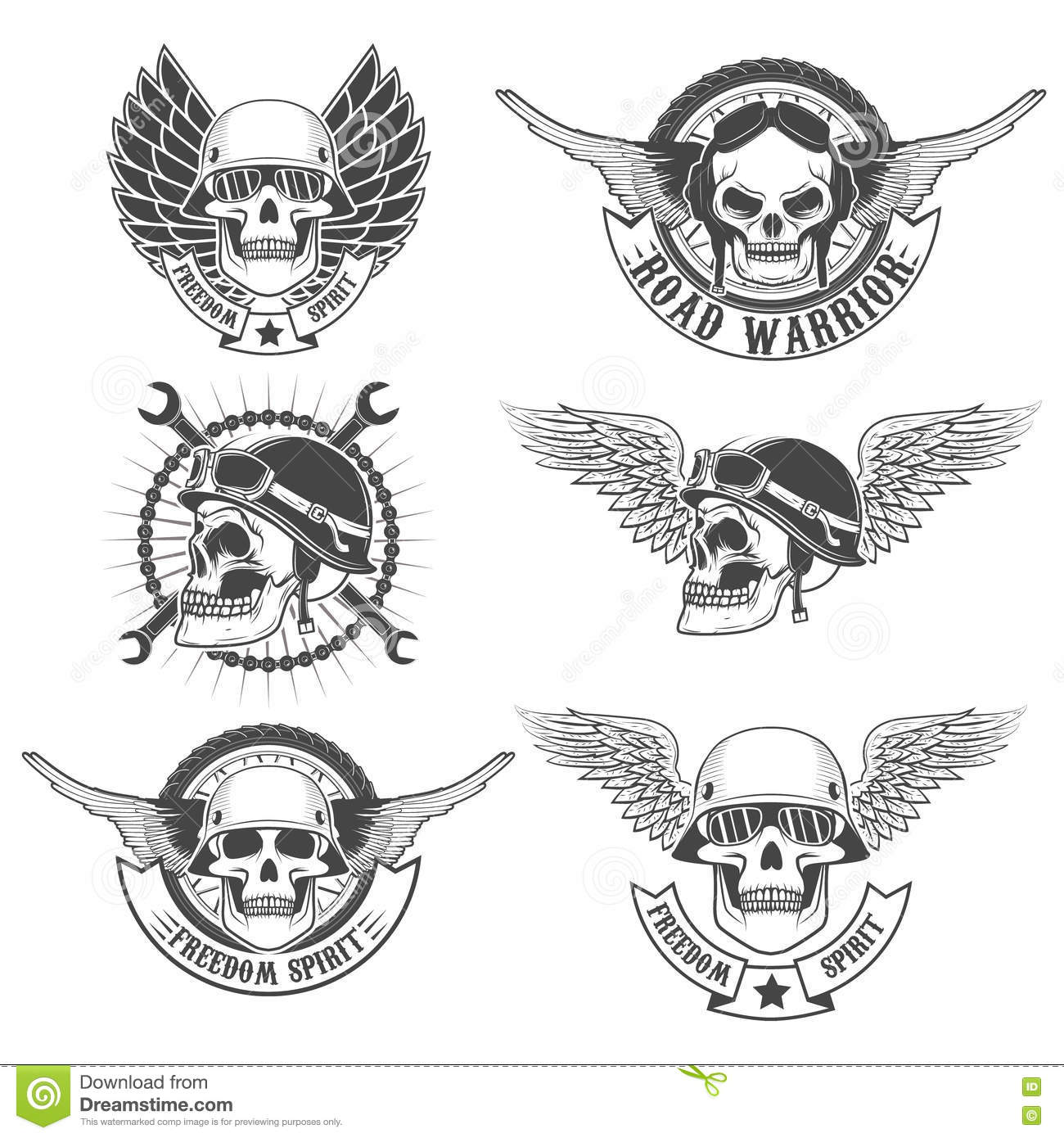 Set Of Motorcycle Club Labels Templates Skulls In