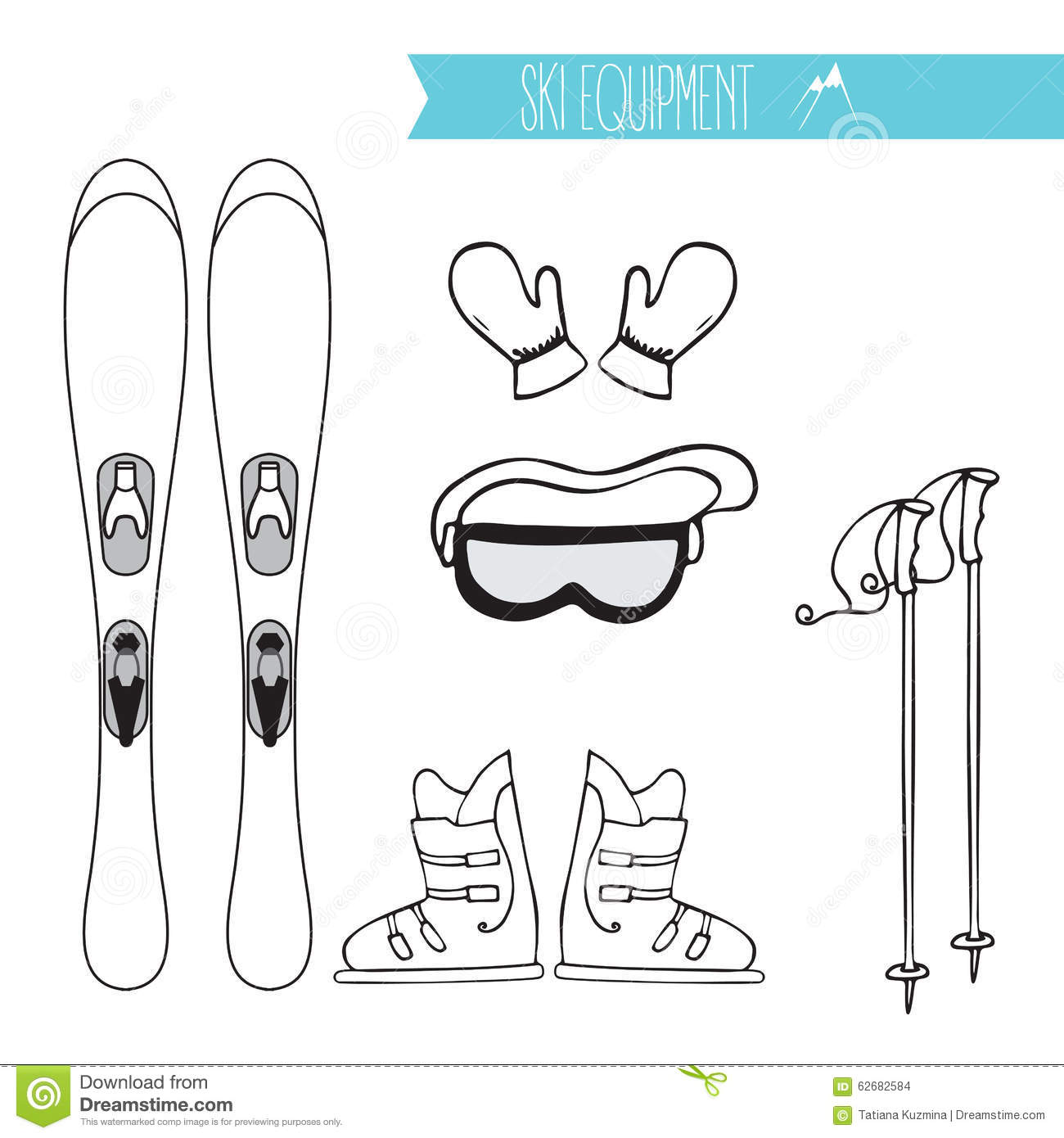 Set With Mountain Ski Boots Mask Glove Isolated Stock