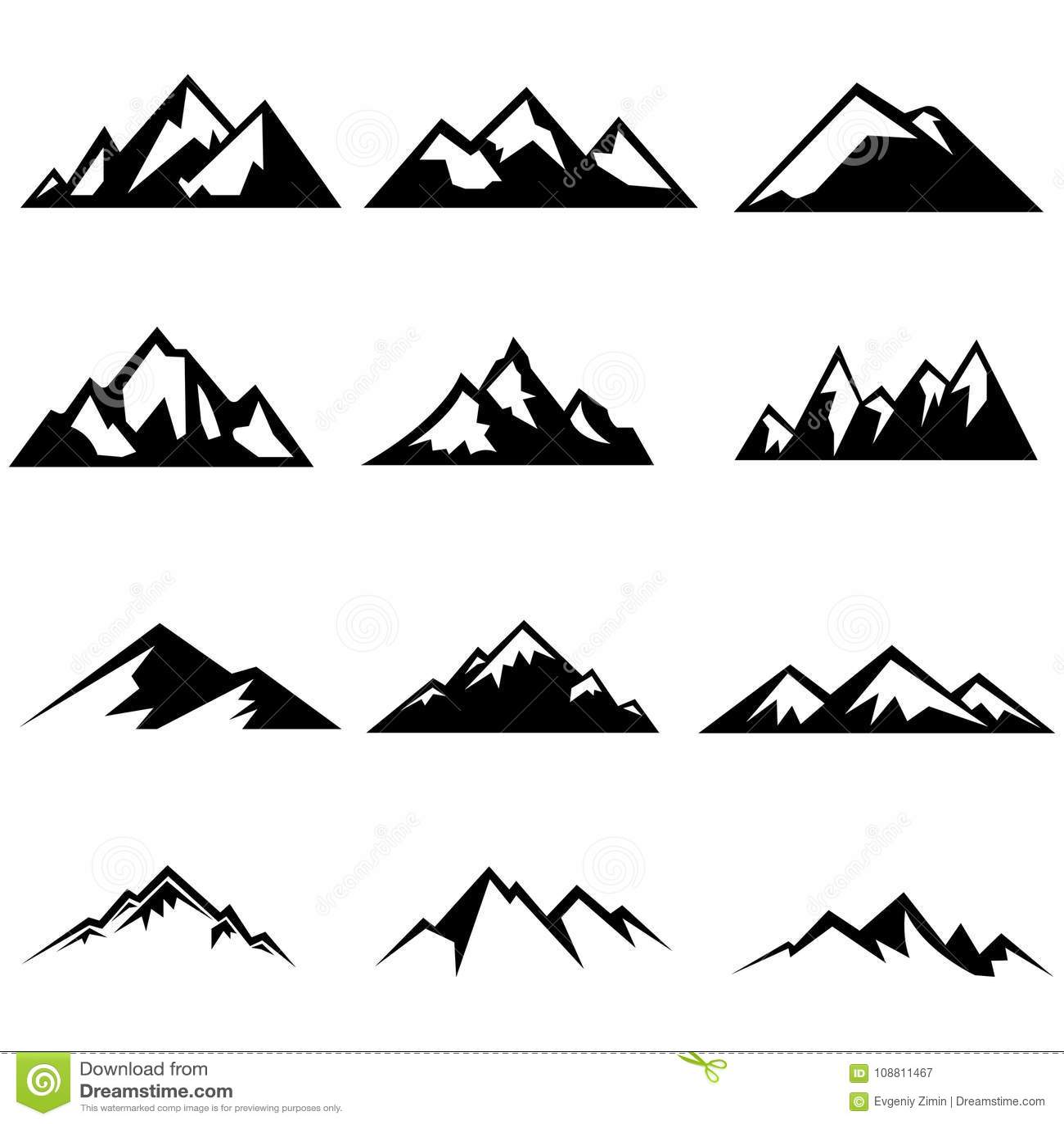Set Of Mountain Elements Outdoor Icon Hand Drawn Stock