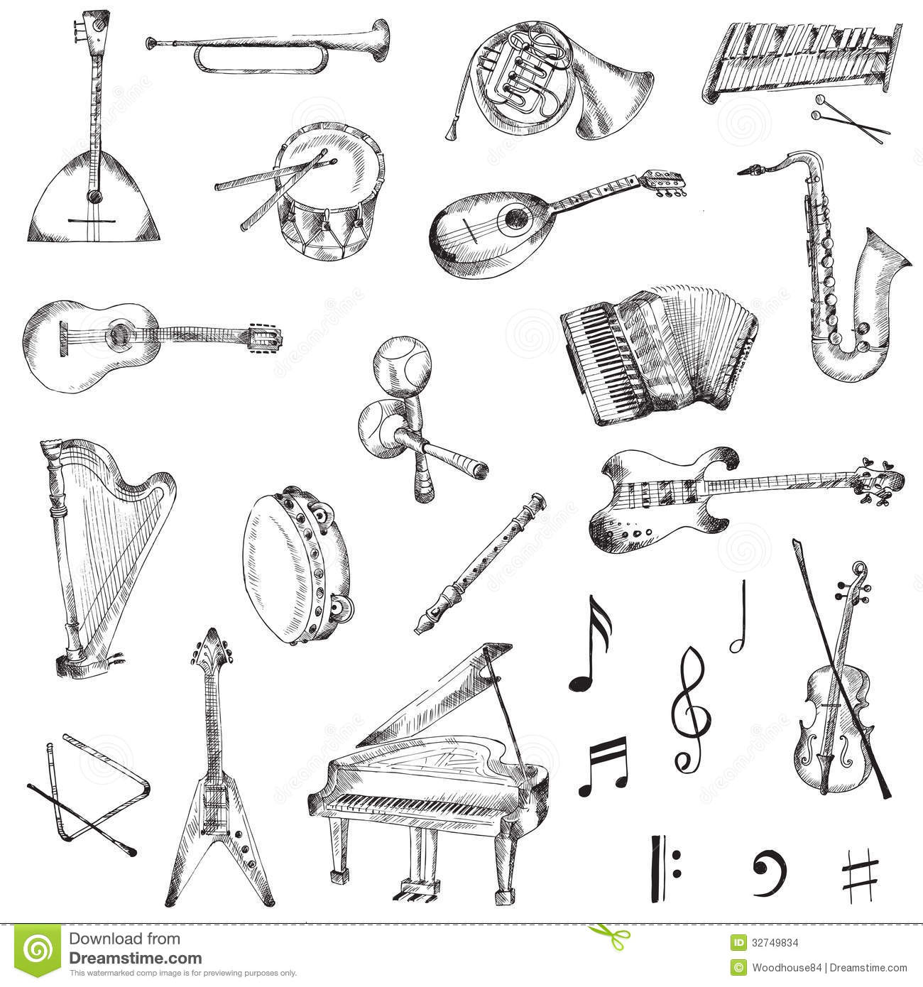 Set Of Music Instruments Stock Vector Illustration Of
