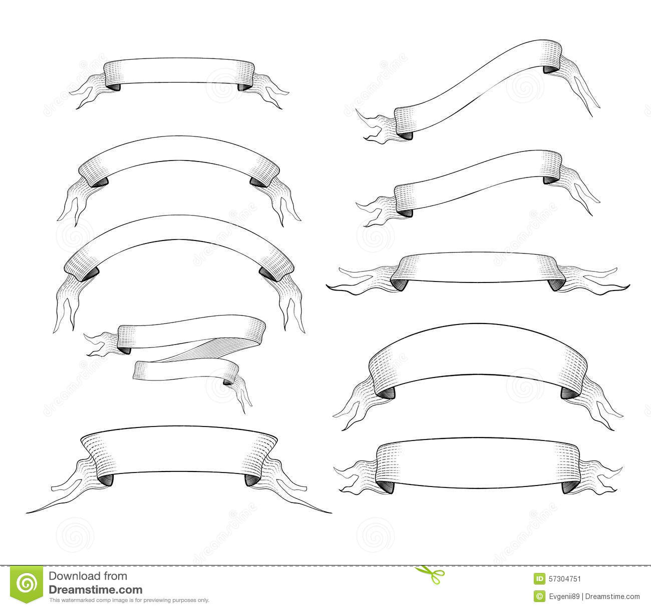Set Of 10 Old Engraved Ribbons For Text Stock Vector