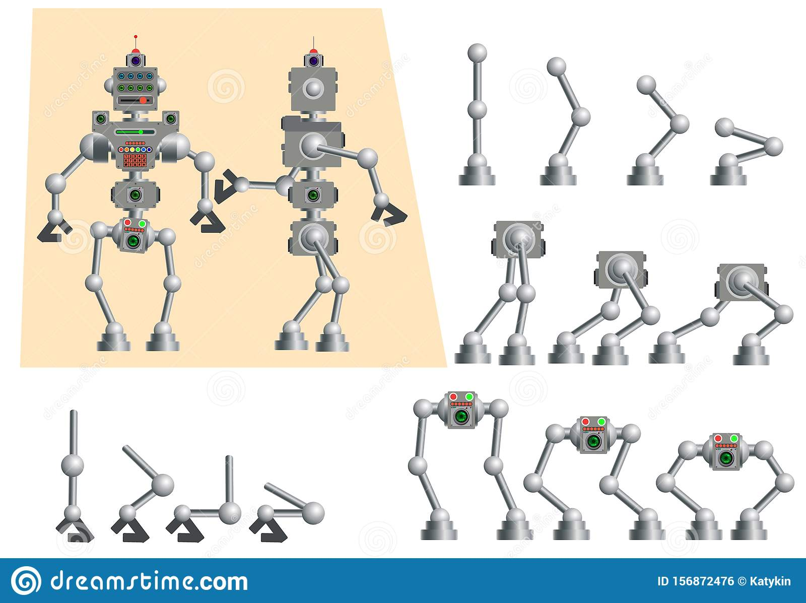Set Of Parts Of The Body Of The Robot Stock Vector
