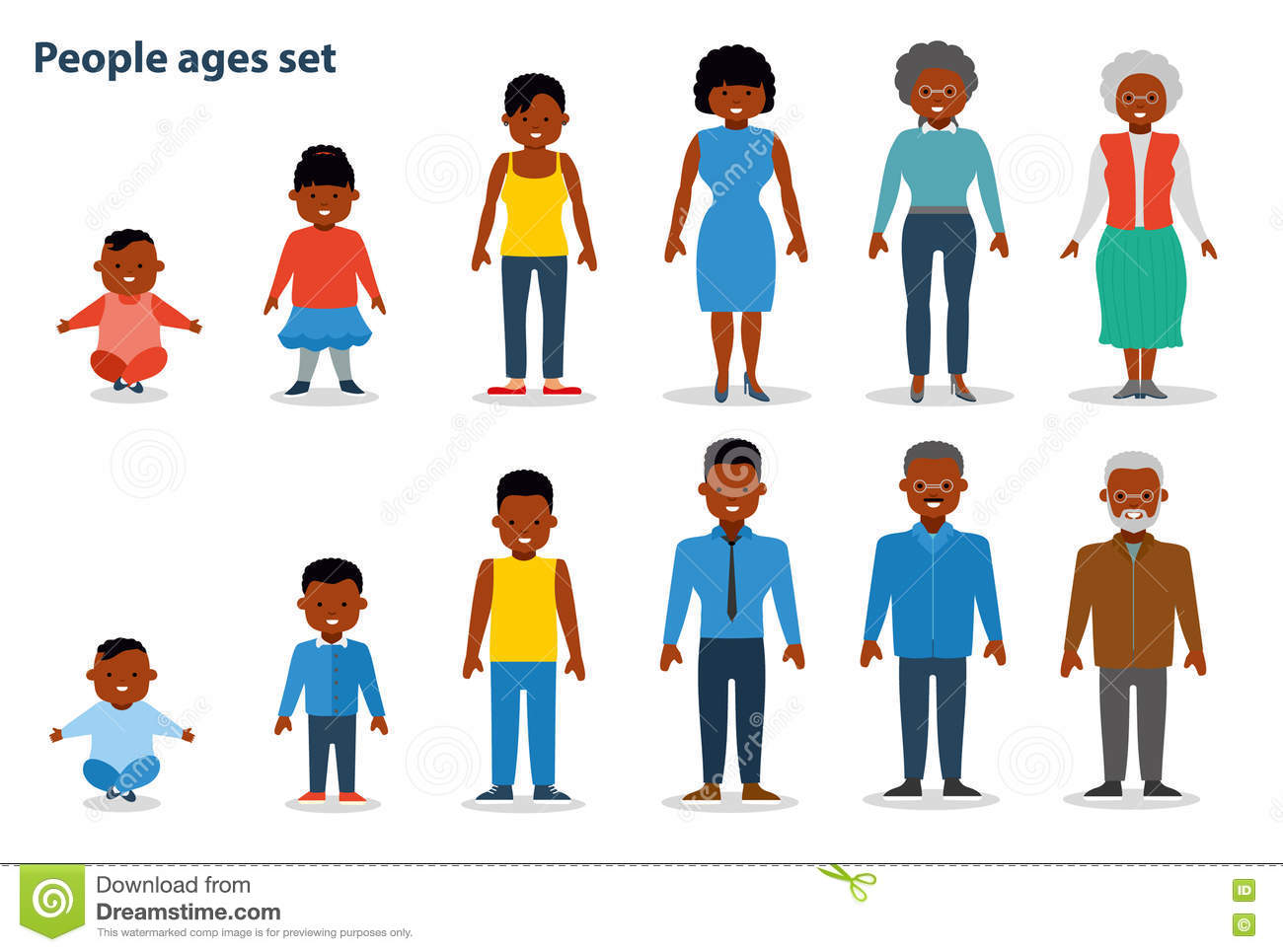 The Set Of People Of Different Ages On The Rise From Infant To The Old Man African American