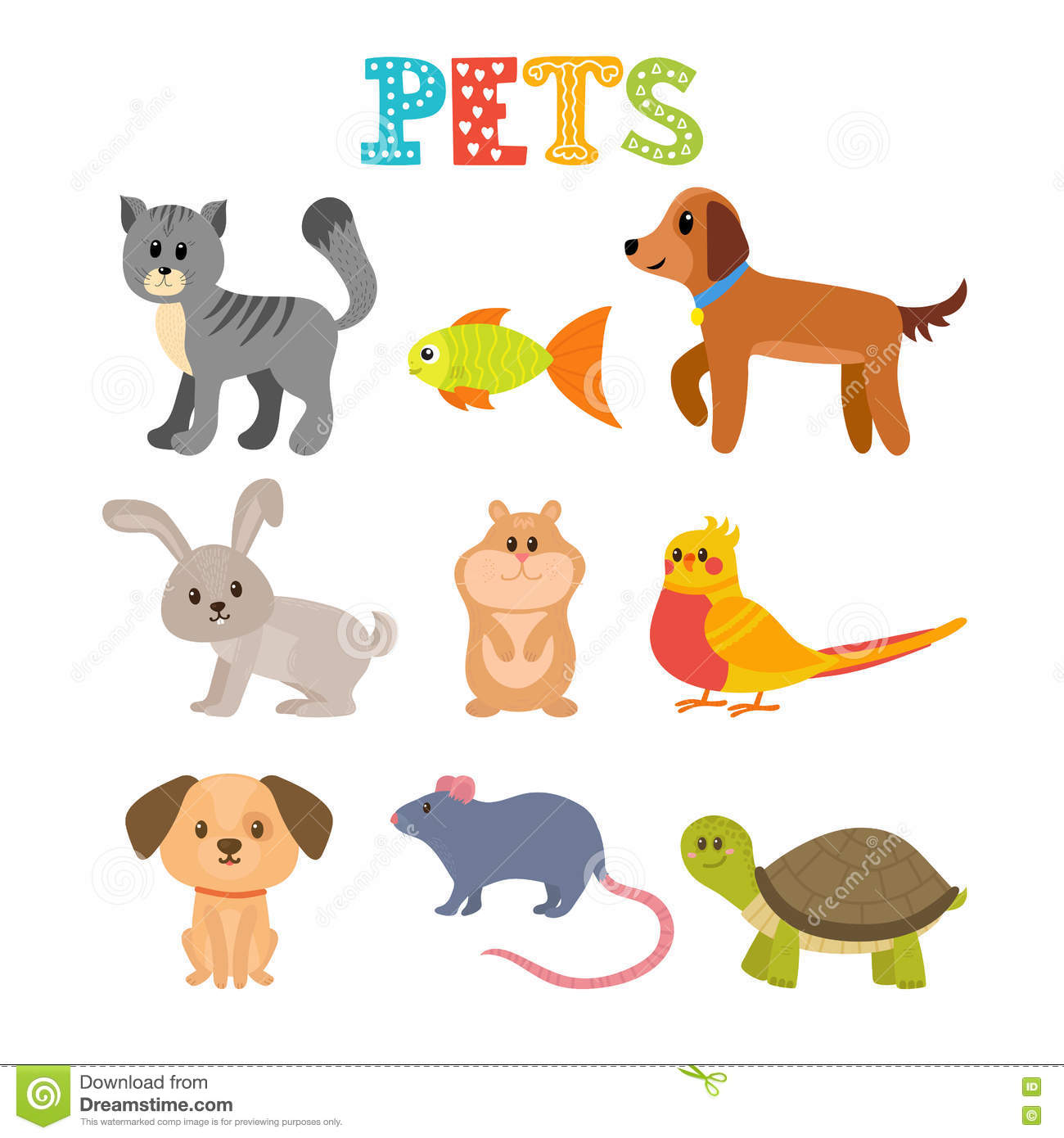 Set Of Pets Cute Home Animals In Cartoon Style Stock