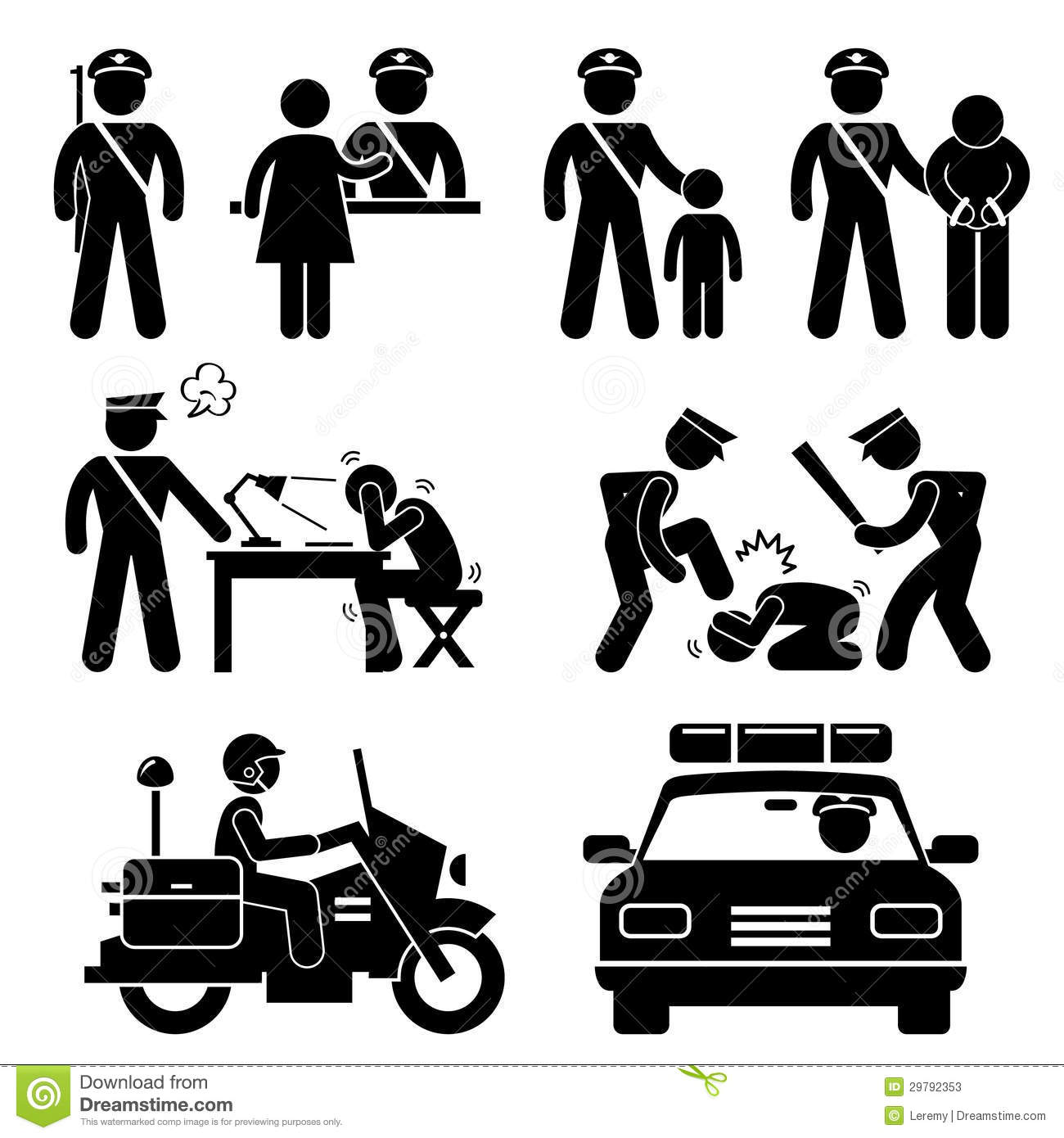Police Station Policeman Report Pictogram Stock Photos