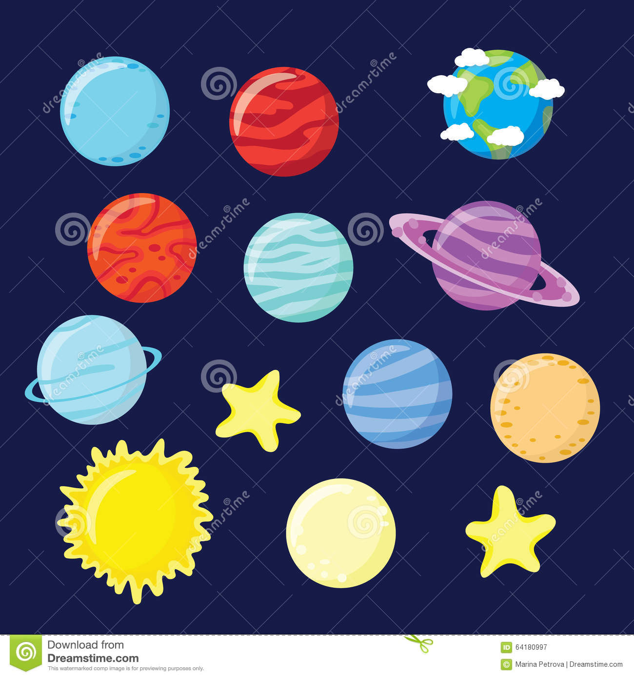 Set Of Planets Stars Sun And Moon Stock Illustration
