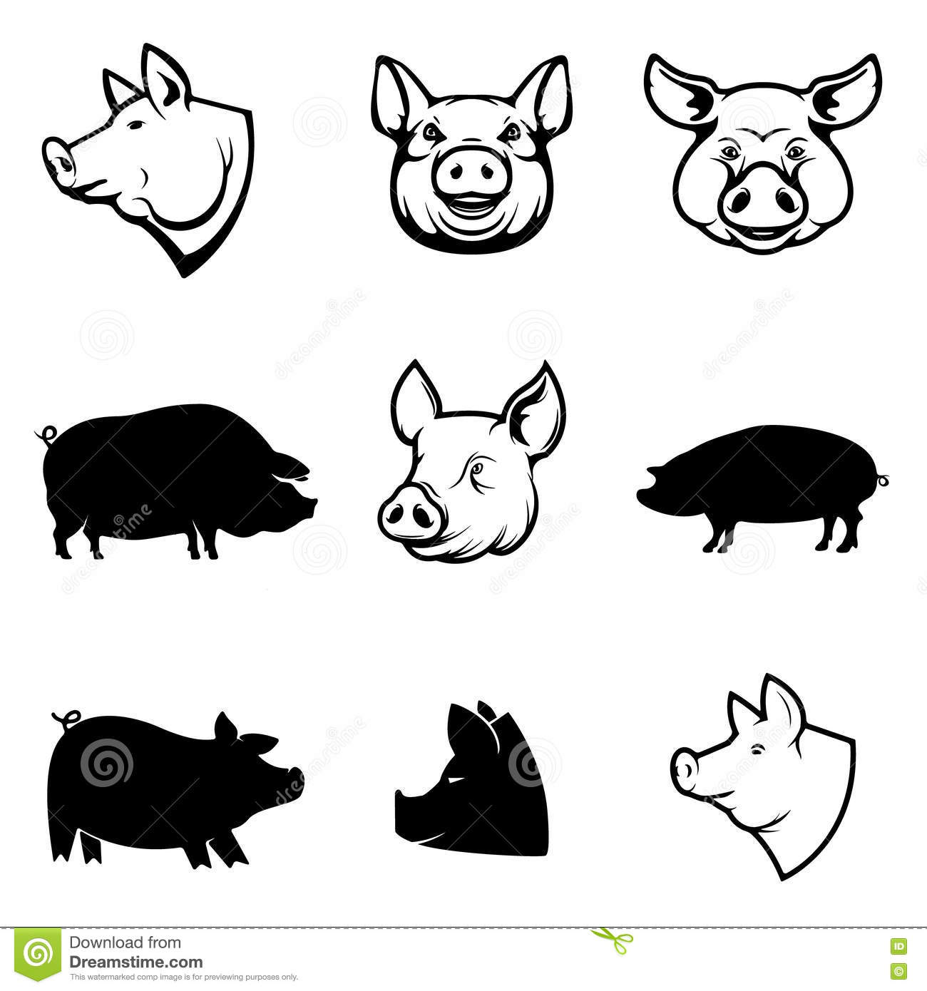 Set Of Pork Labels Pig Silhouettes And Heads Design