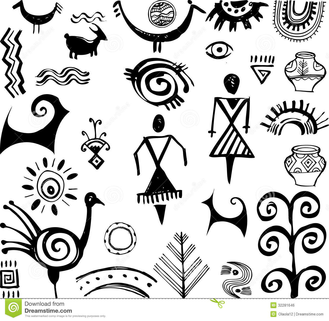 Set Of Primitive Drawings Stock Vector Illustration Of