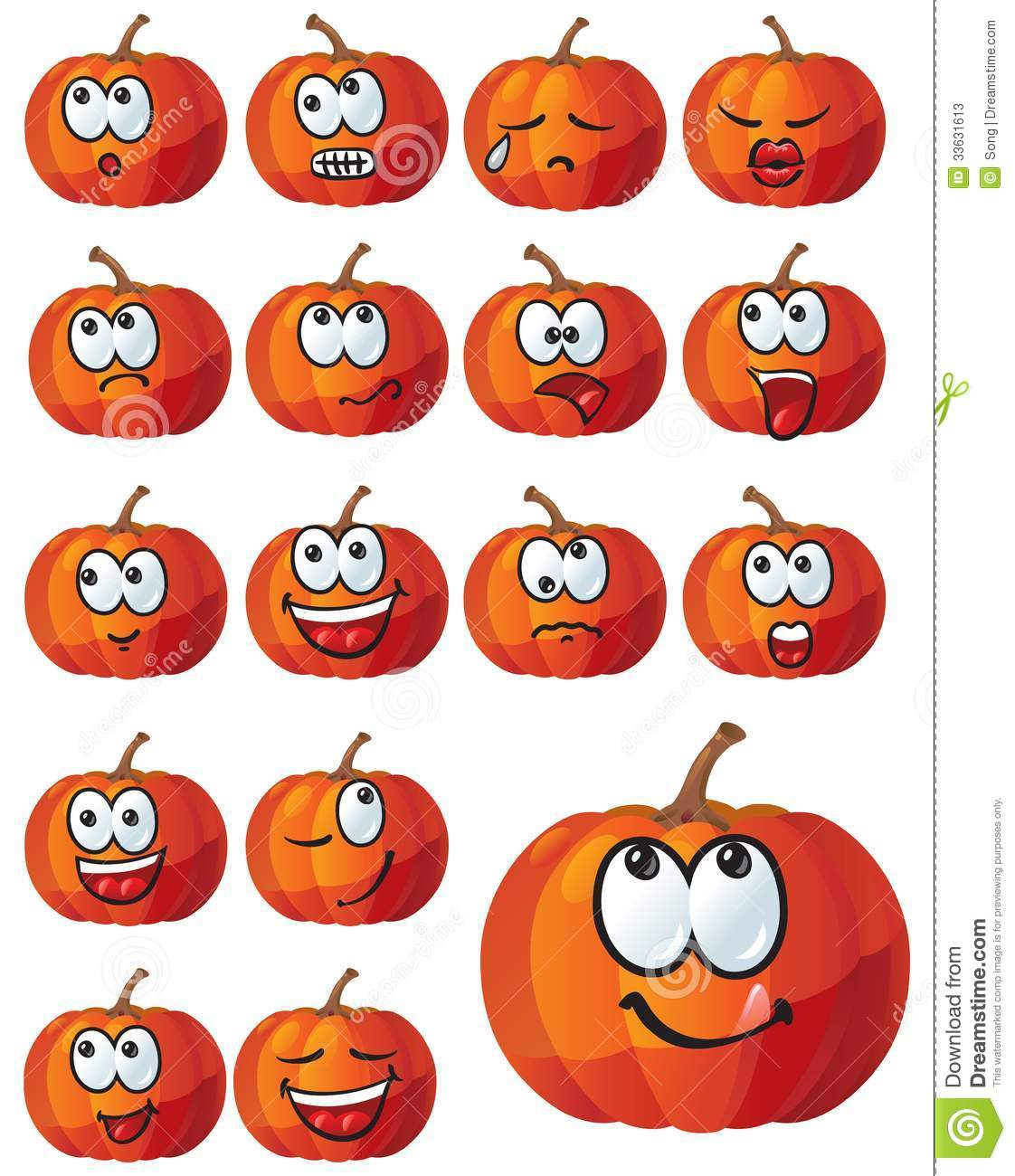 Set Of Pumpkin Emotions Stock Photos