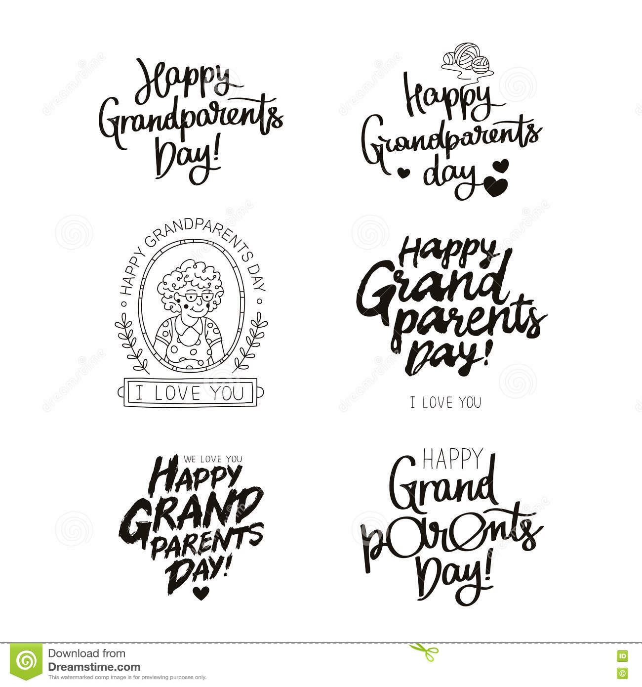 Set Quotes About Happy Grandparents Day Stock Vector