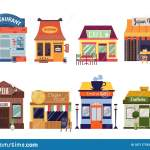 Set Of Restaurant And Cafe Building Facades Flat Vector Illustration Isolated Stock Vector Illustration Of Exterior Building 187117782