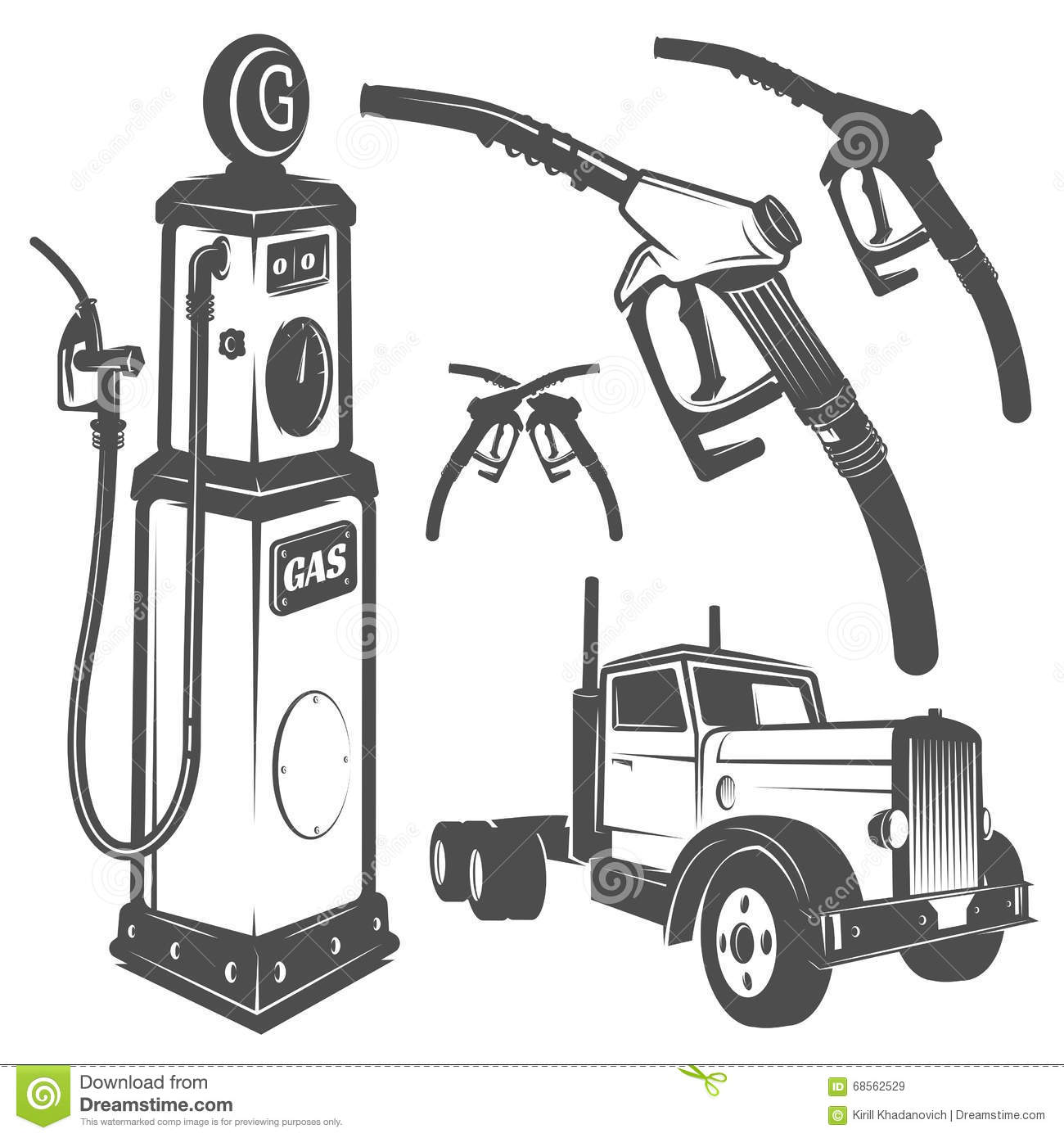 Set Of Retro Gas Station Car And Design Elements For