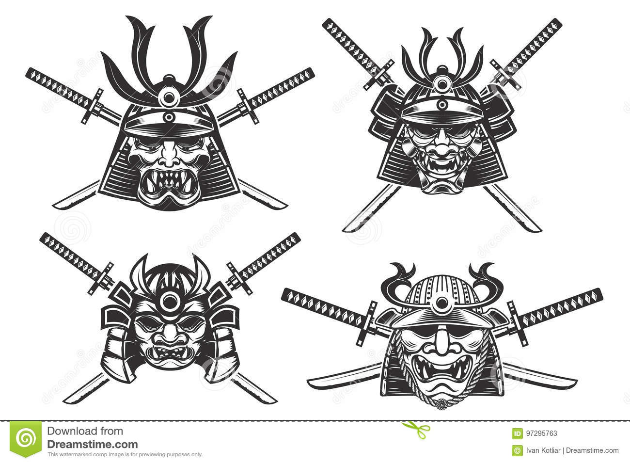 Set Of The Samurai Helmets With Swords Isolated On White