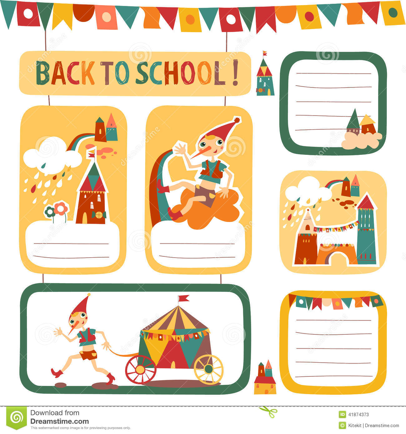 Set Of School Children S Stickers And Labels With Houses