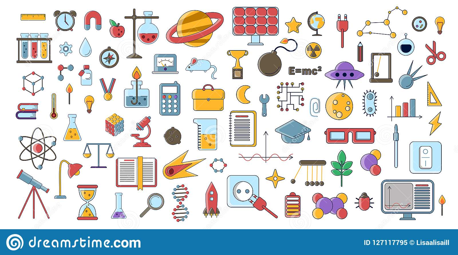Set Of Scientific Vector Flat Icons Education Signs And