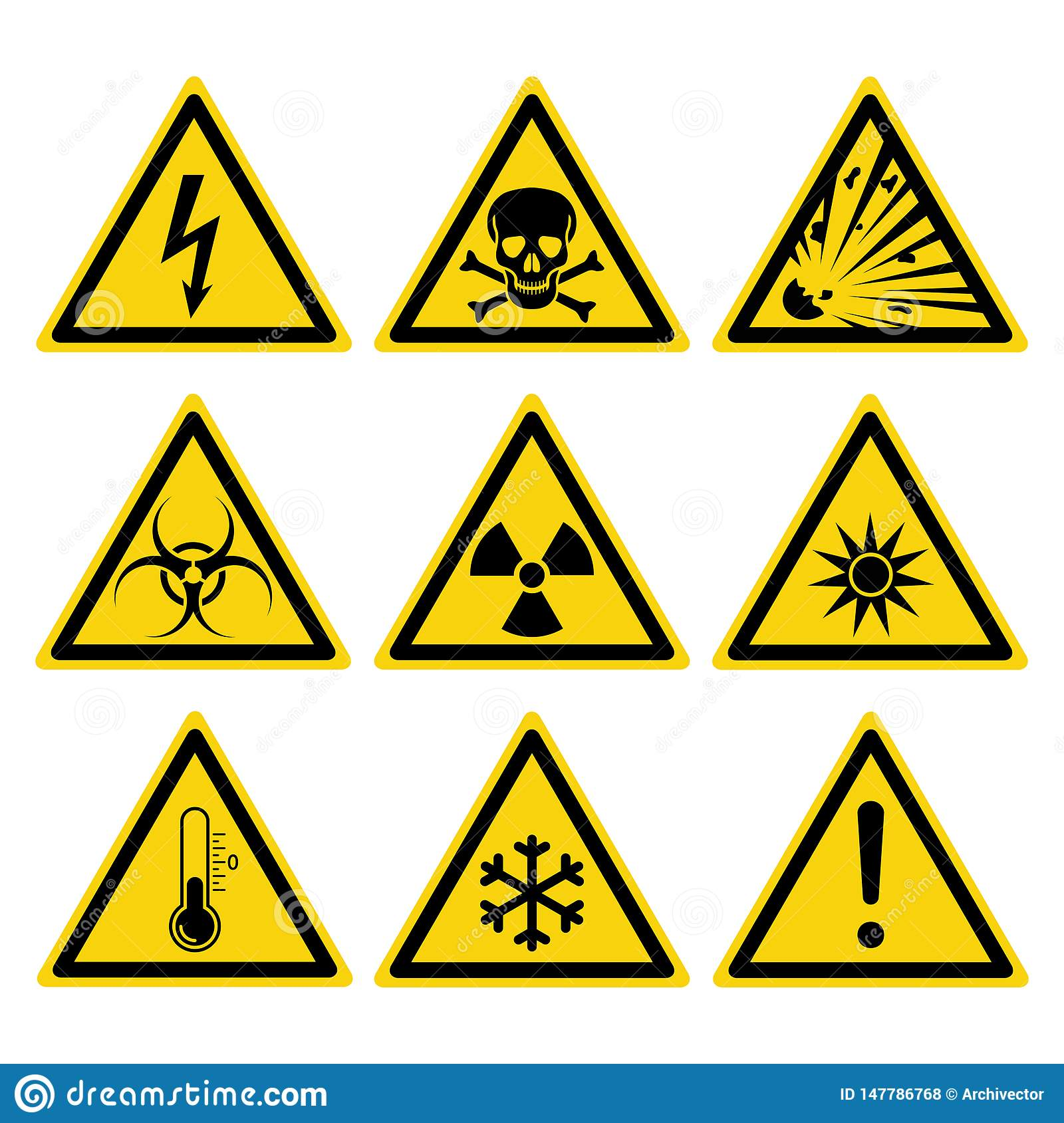 Hazards Signs Set Stock Vector Illustration Of Nuclear