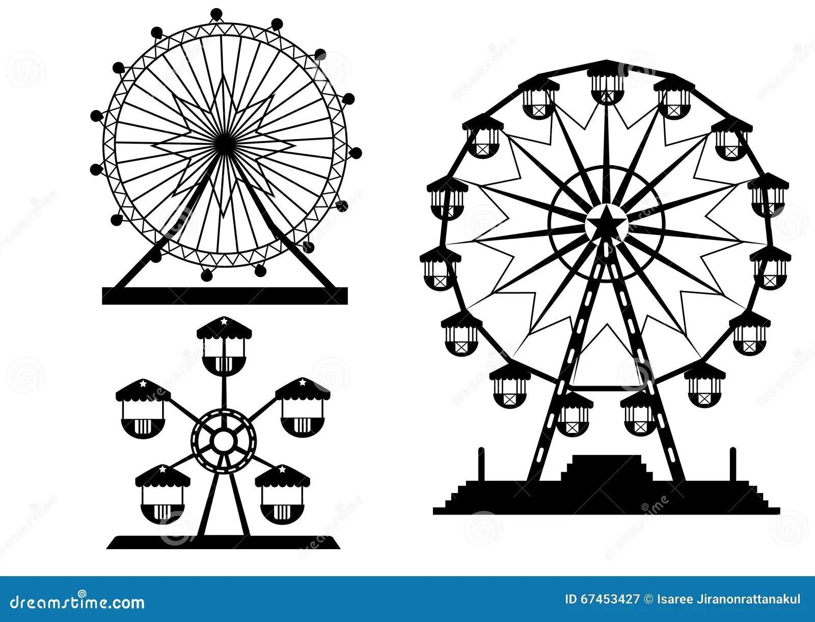 Set Of Silhouettes Ferris Wheel From Amusement Park