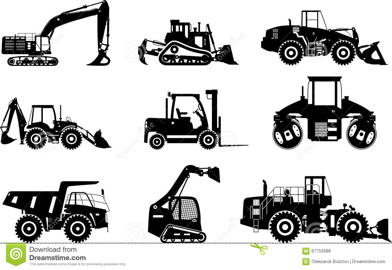 Set Of Silhouettes Heavy Construction And Mining Machines