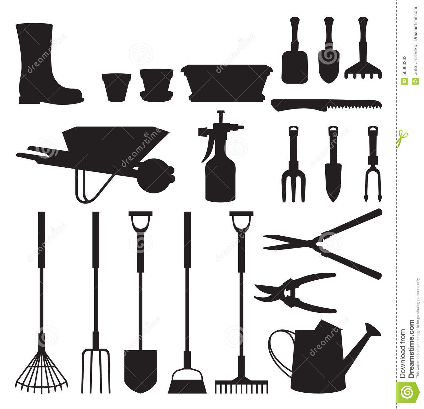 Set Of Silhouettes Of Objects Garden Tools Stock Vector