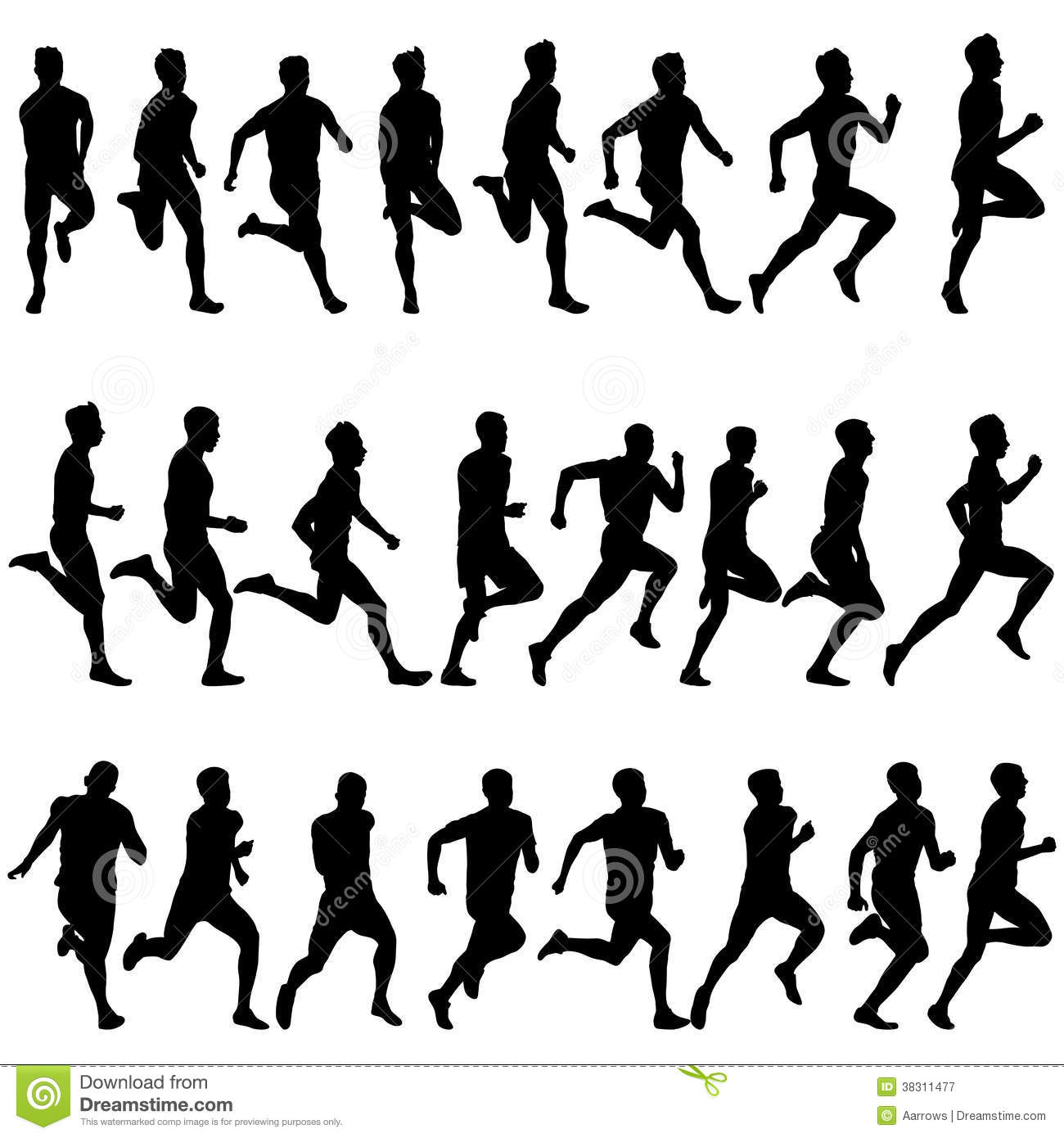 Set Of Silhouettes Runners On Sprint Men Vector Stock