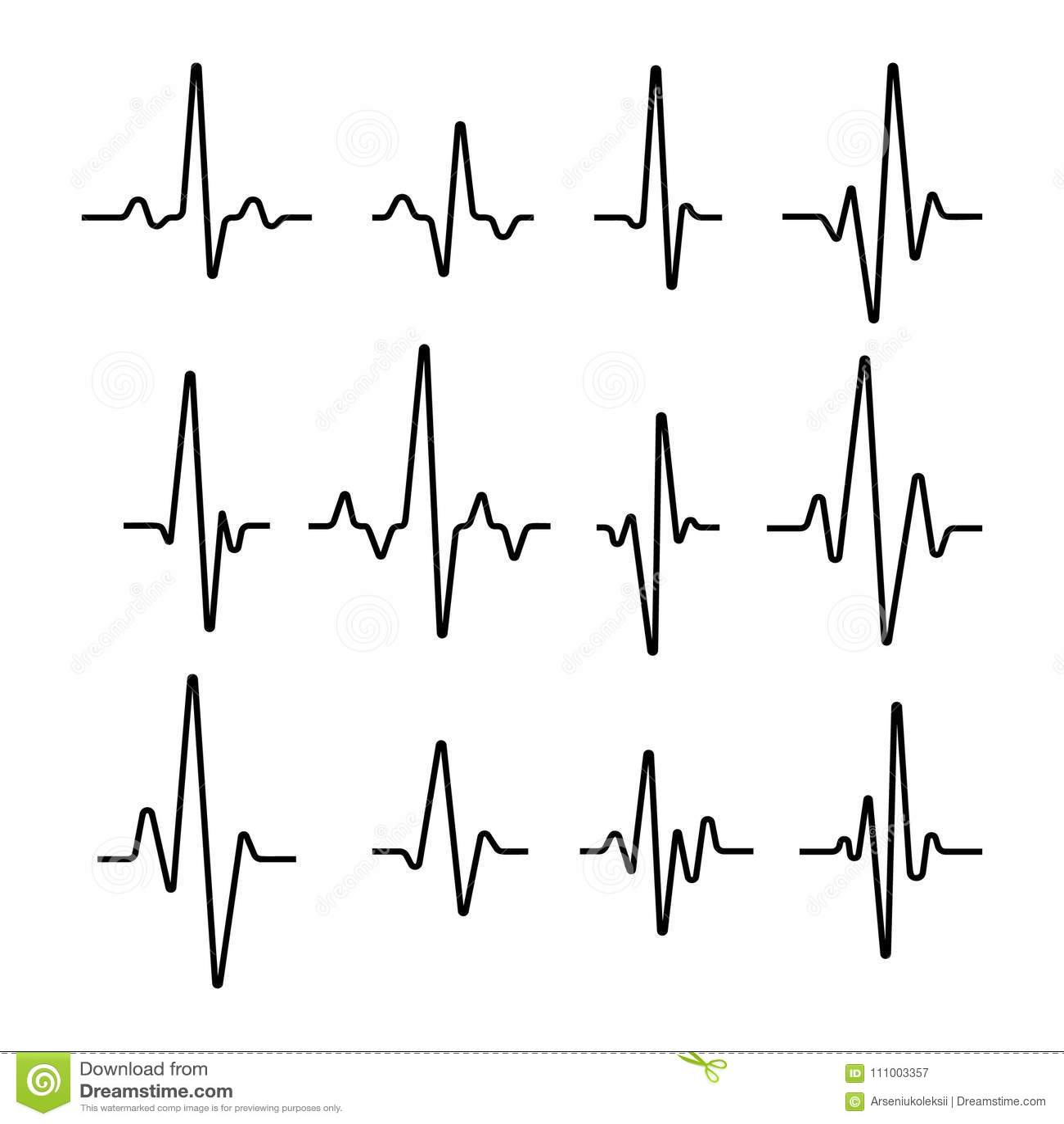 Set Of Sinusoidal Pulse Lines Stock Vector