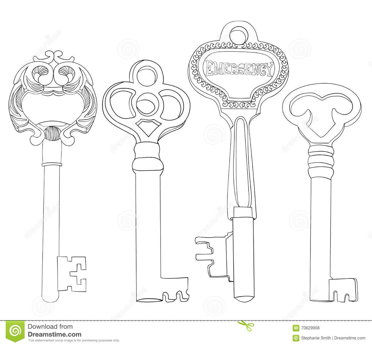 Set Of Skeleton Keys Illustrations Vintage No Fill Lineart