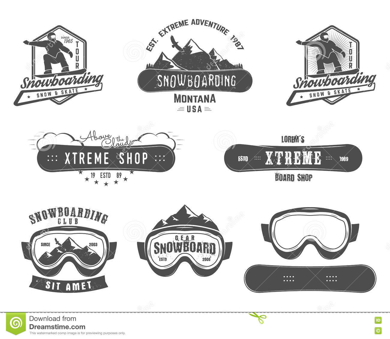 Set Of Snowboarding Extreme Logo And Label Templates