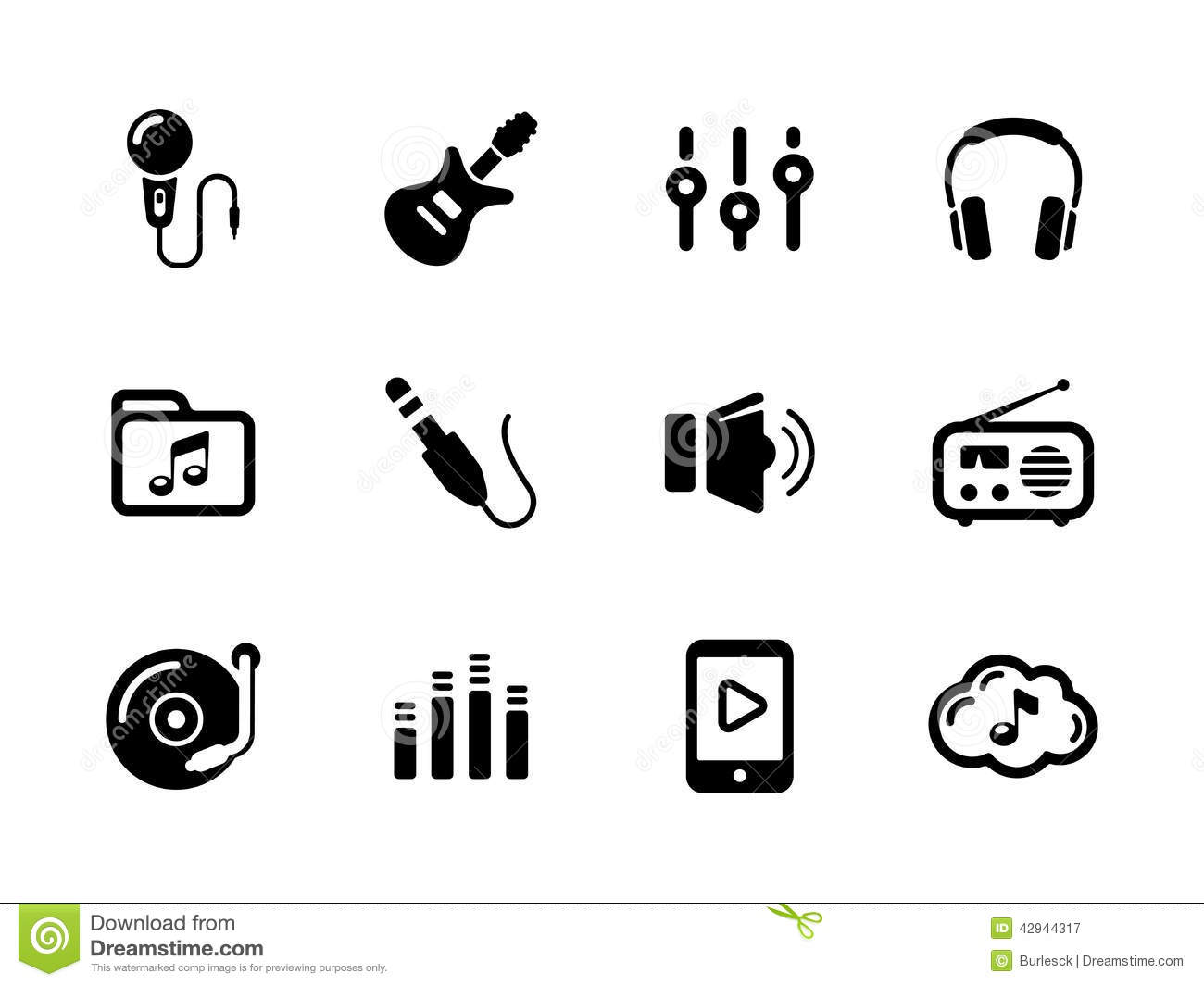 Set Of Sound And Music Black Icons On White Stock Vector