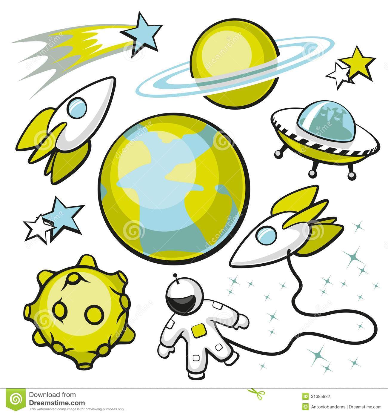 Set Of Space Objects Stock Photography