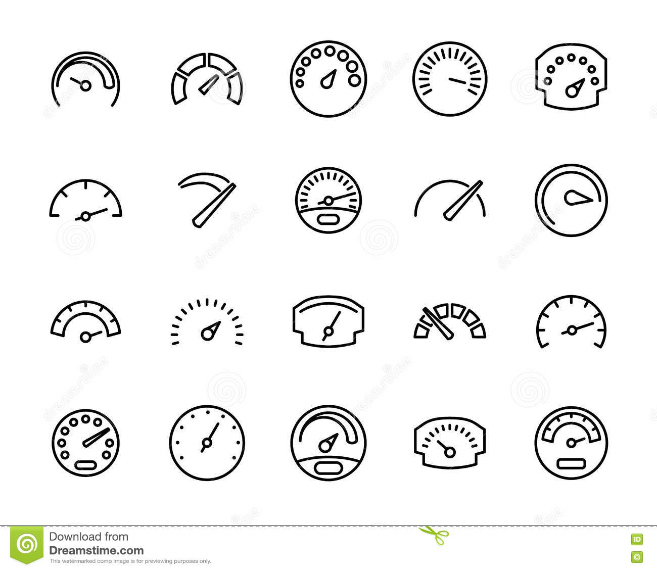 Vector Line Car Dashboard Icons Set Royalty Free Stock