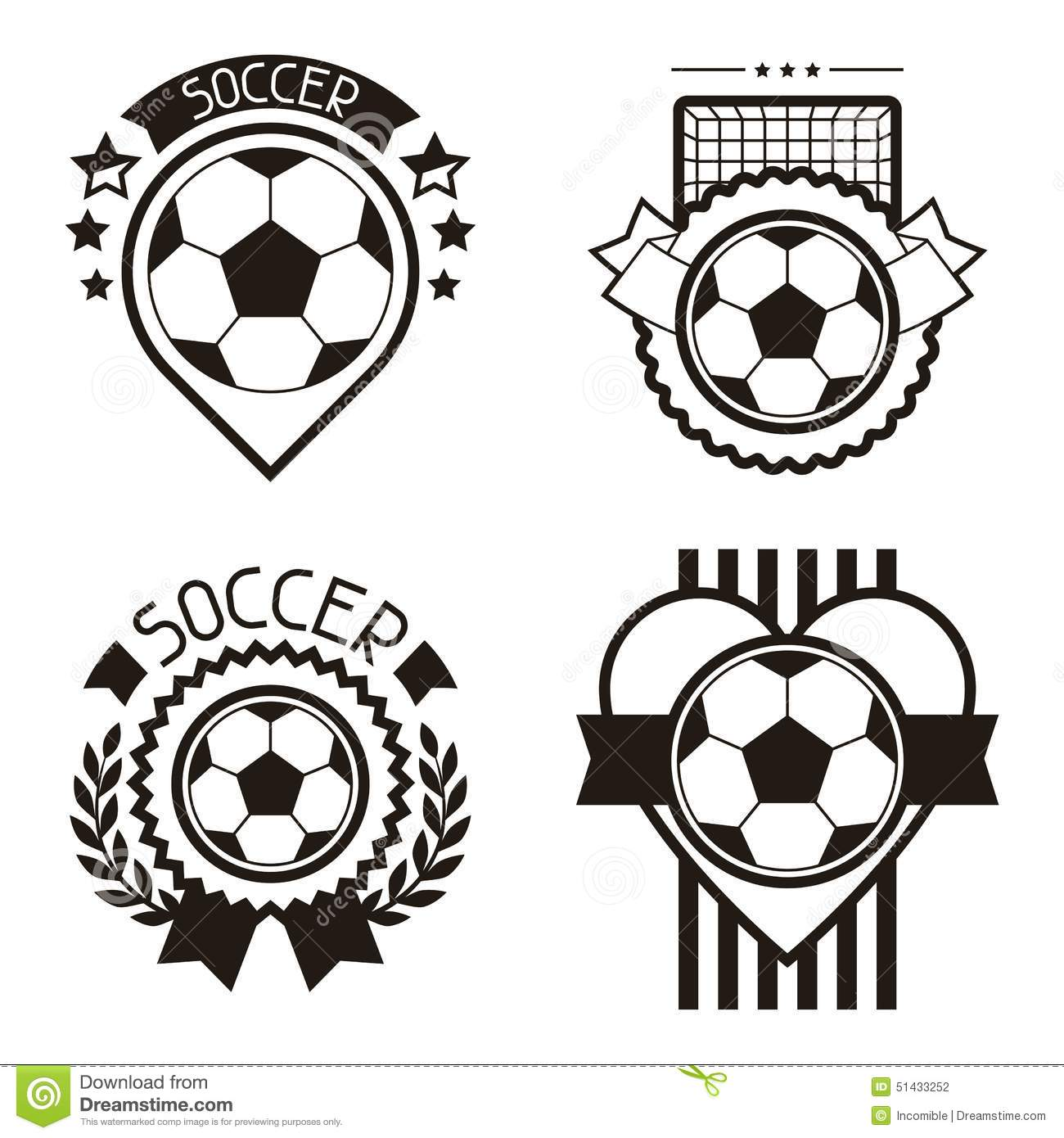 Set Of Sports Labels With Soccer Football Symbols Stock Vector