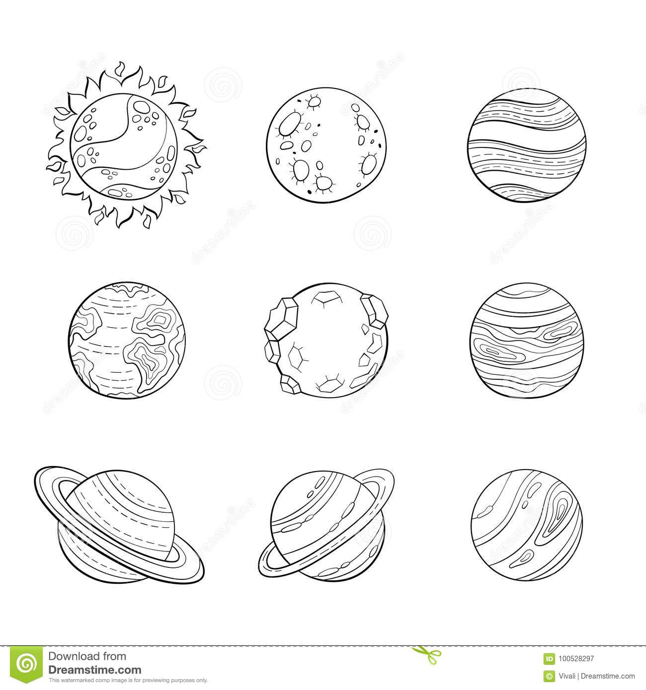 Vector Cartoon Planets Education Space Illustration For