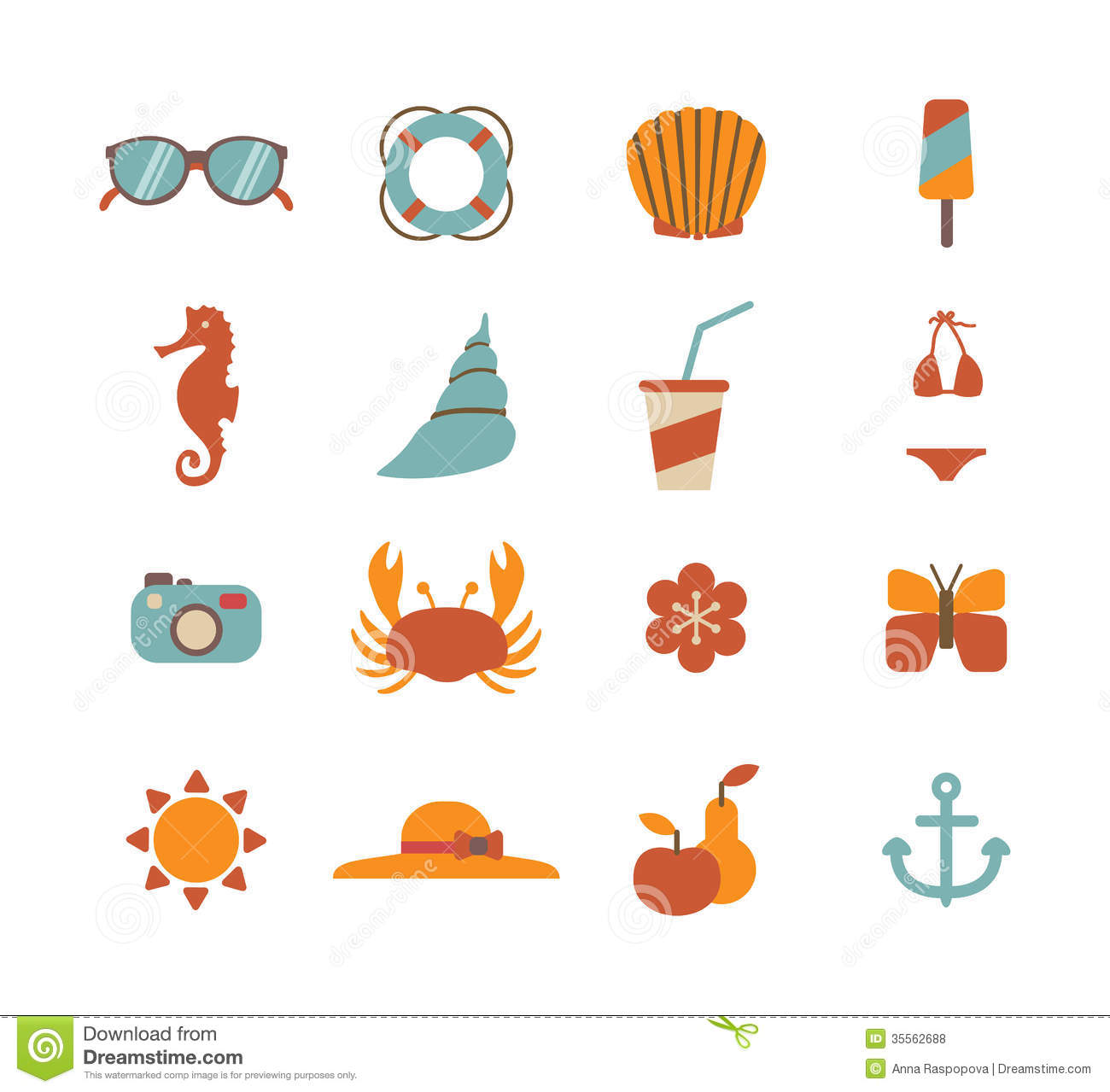 Set Of Summer Icons Royalty Free Stock Photos