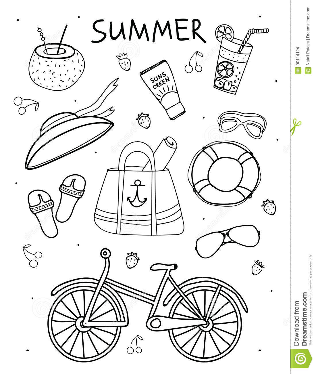 Set Of Summer Things Elements Of A Beach Holiday In Hand