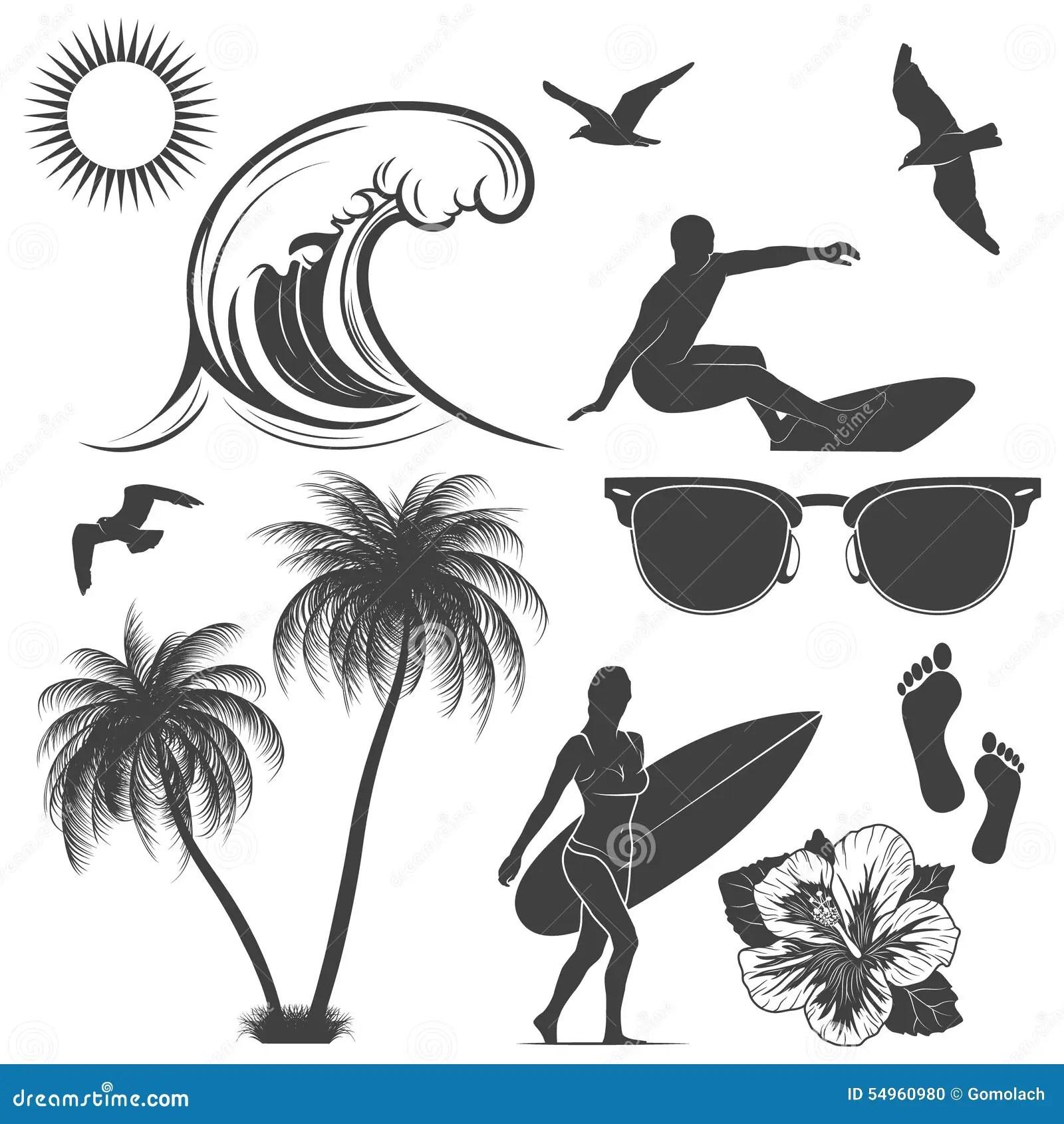 Set Of Surfing Design Elements Stock Vector