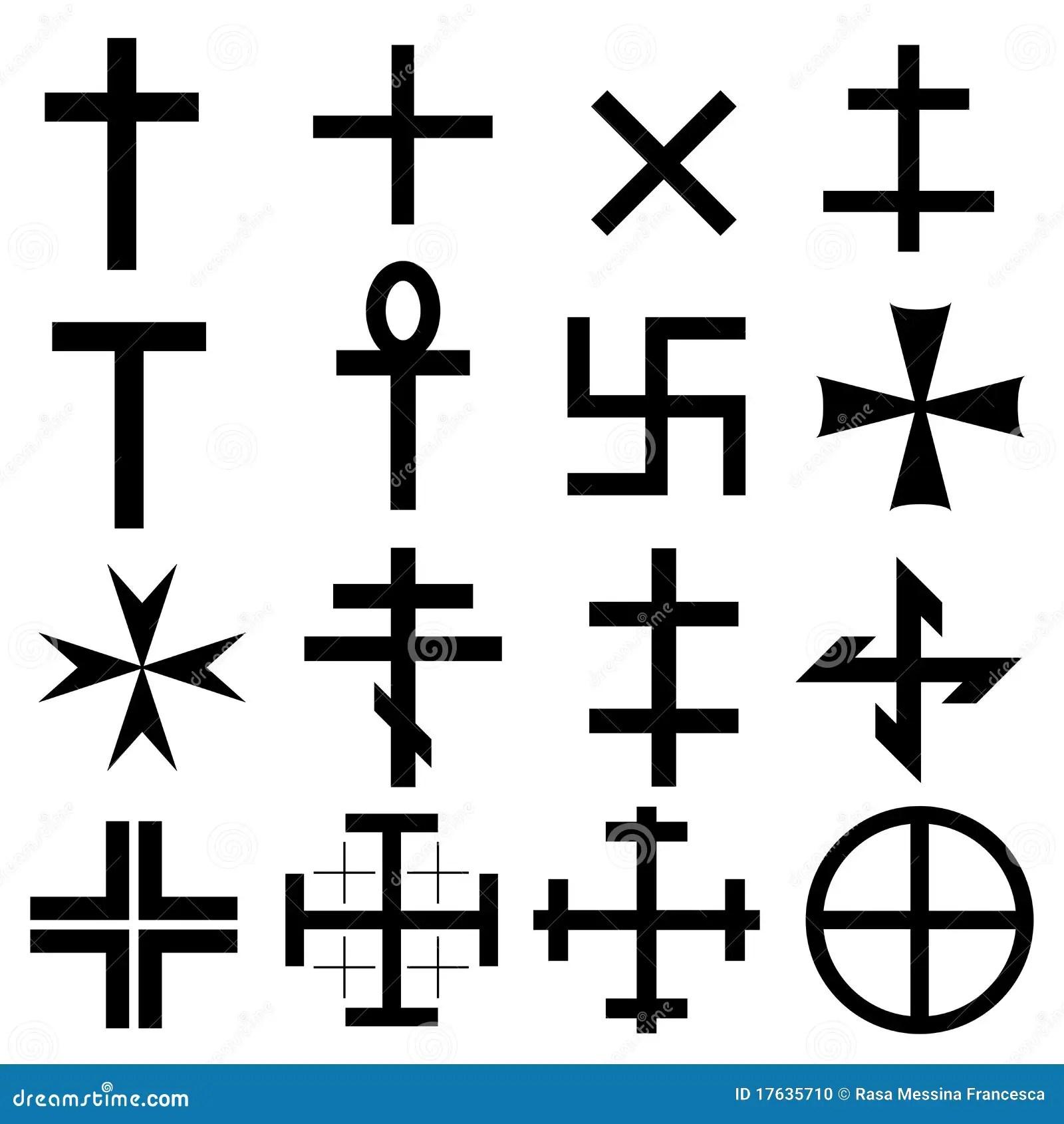 Set Symboler For Kors Vektor Illustrationer Illustration Av Logoer