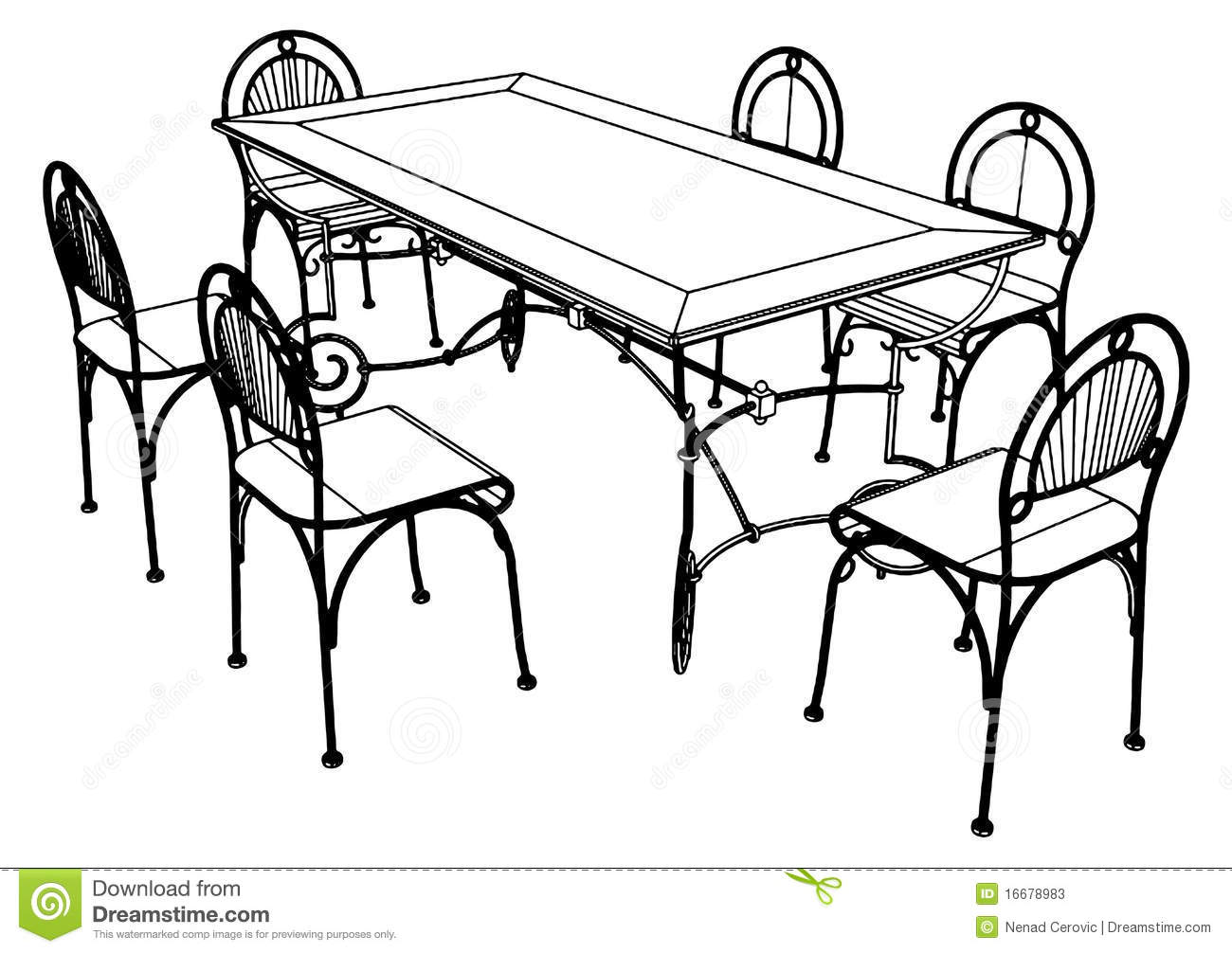 Set Table And Chairs Vector 03 Stock Vector